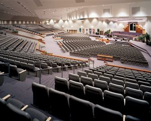 Large scale church theater seating