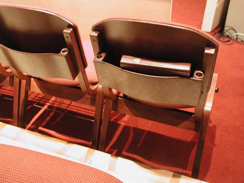 Back of church choir chairs