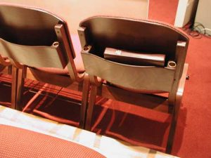 Back of church choir chairs