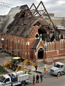 Church roof ripped off
