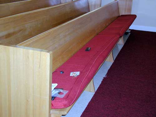 Red pew cushions