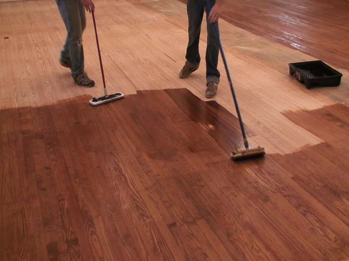Staining a hardwood church floor