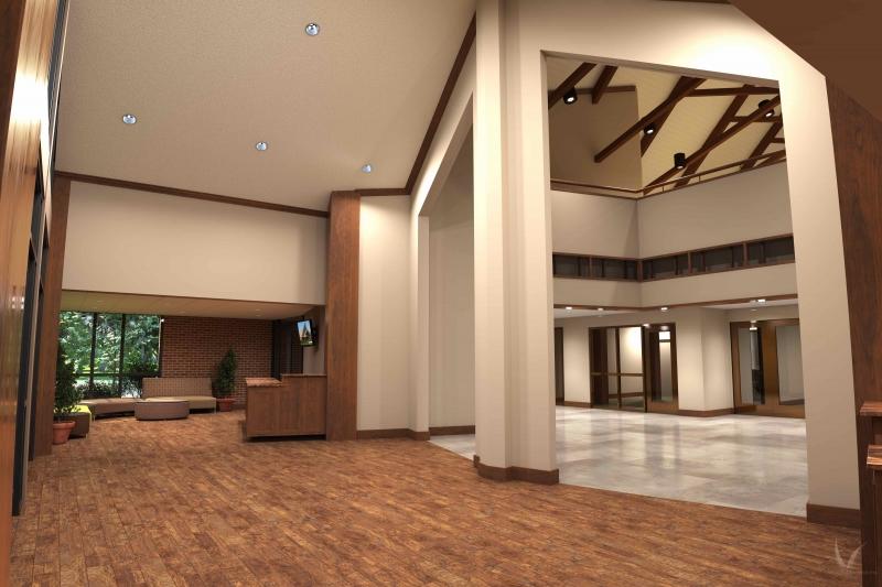 church interior 3d rendering